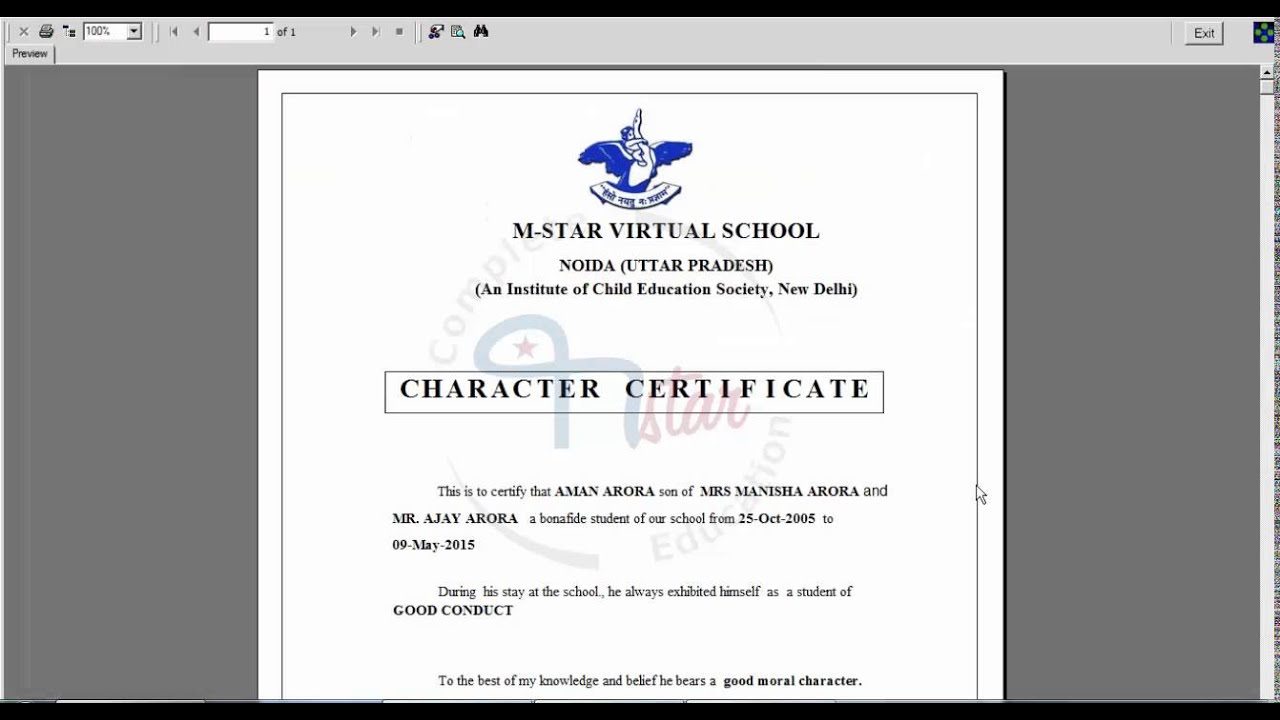 Character Certificate Format For School Students Image Gallery Hcpr
