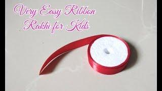 DIY Easy Rakhi/How to Make Rakhi at Home/ Ribbon Rakhi Making/Ribbon Flower Rakhi/Rakhi For Kids