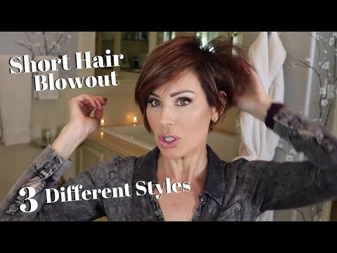 Short Hair Blowout + Three Different Styles! | Dominique Sachse