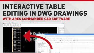 Interactive Table Editing In Dwg Drawings With Ares Commander Cad Software