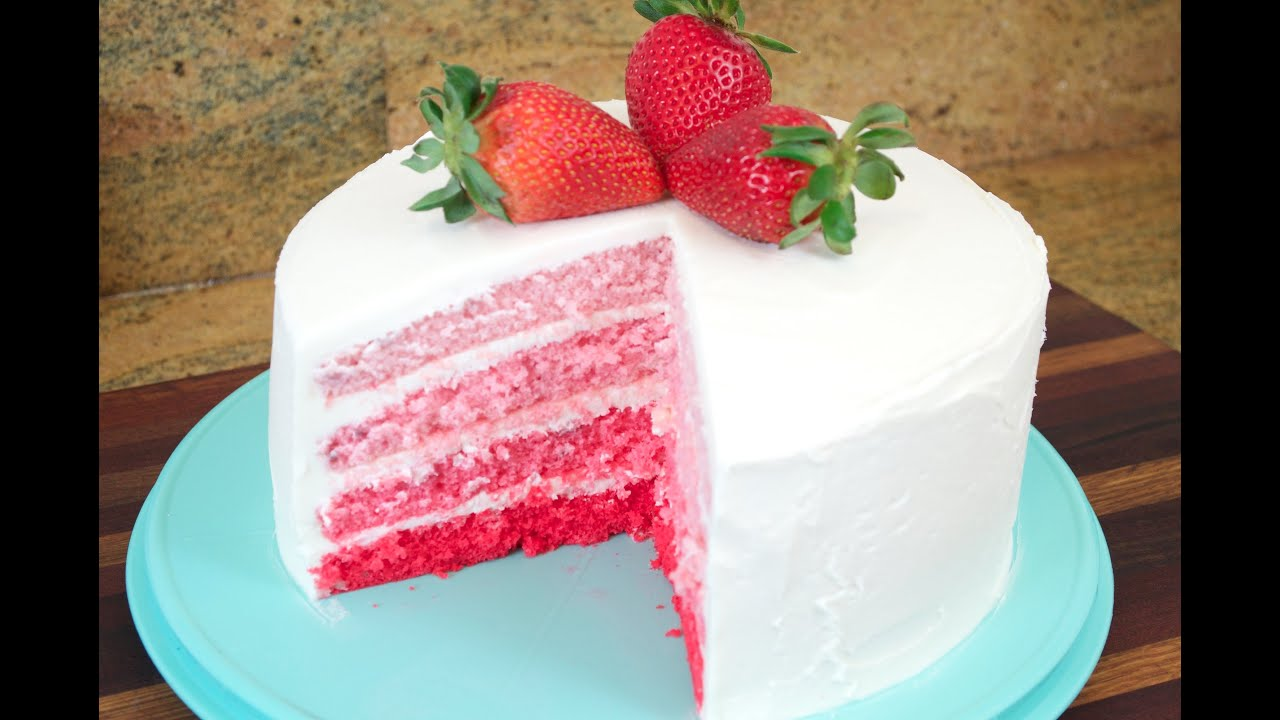 Strawberry Ombre Cake with White Chocolate Cream Cheese Buttercream
