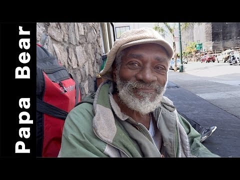 """Papa Bear"" homeless Vietnam Vet, panhandler: On-the-street interview in the Tenderloin neighborhood"