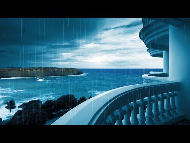 Rainstorm & Ocean Waves | Sleep or Study Better with Rain White Noise | 10 Hours