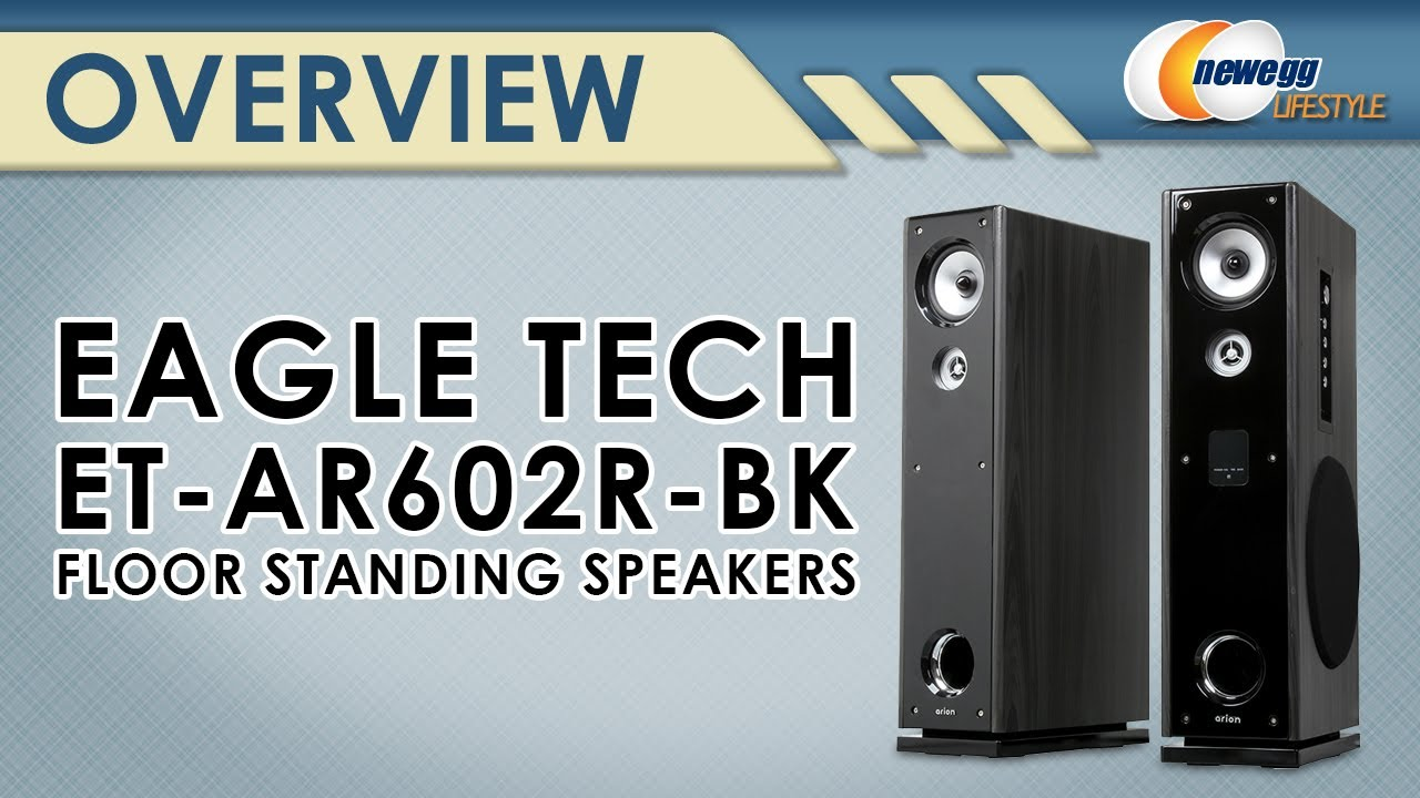 Eagle Tech Pair Floor Standing Powered Speakers with Remote Control ...