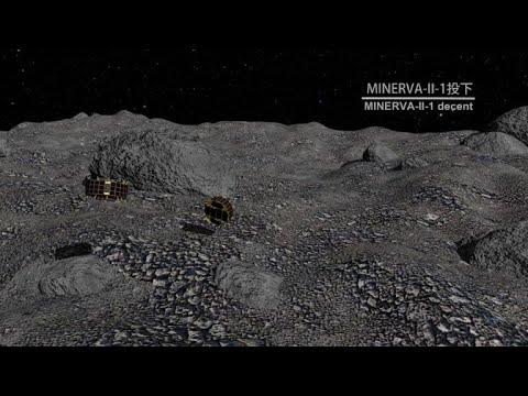 Micro-robôs exploradores sobre asteroide