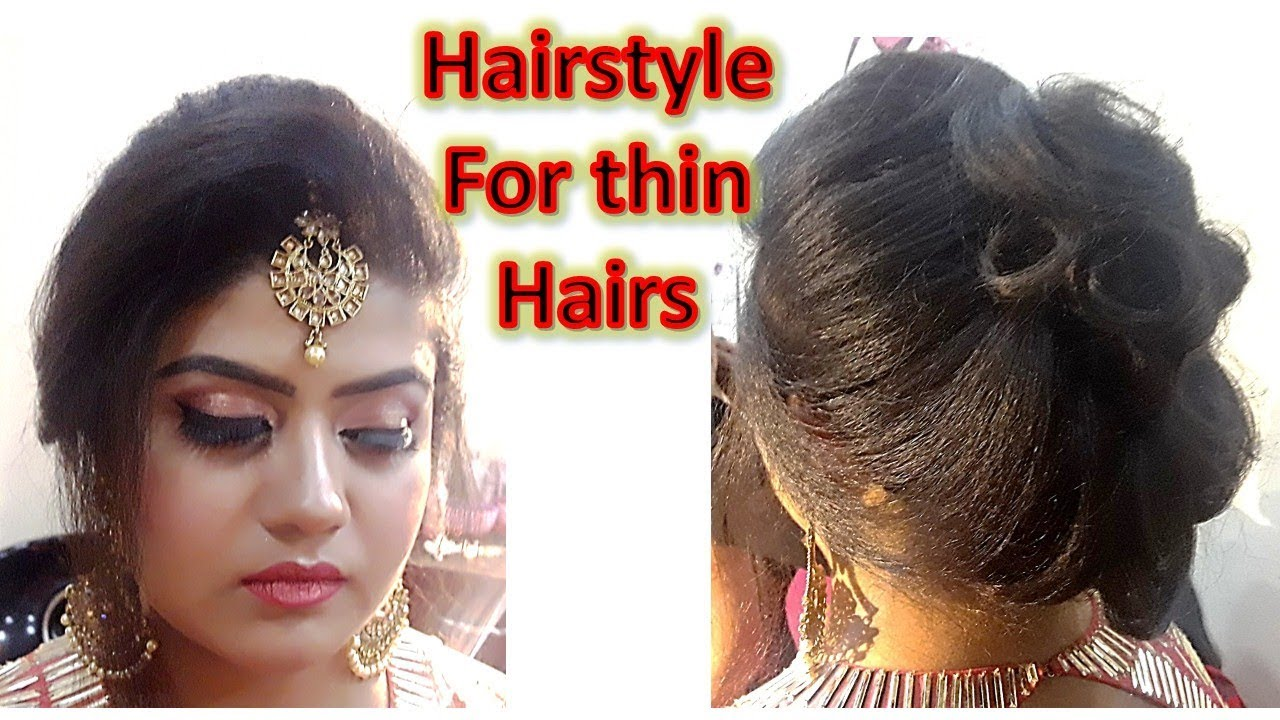 diy - hairstyle for thin hairs with maang tikka setting front puff without backcombing