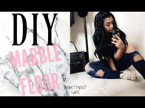 DIY Marble Floor for $20 Apartment Safe | TheSarahSalvini