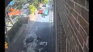 CCTV shows truck dropping asbestos outside Sydney pre-schools