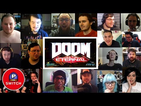 Live Reaction: DOOM ETERNAL Gameplay reveal @ Quakecon 2018 | Synched Compilation