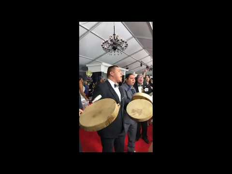 Young Spirit Sing Hand Drum Songs On the Grammy Red Carpet