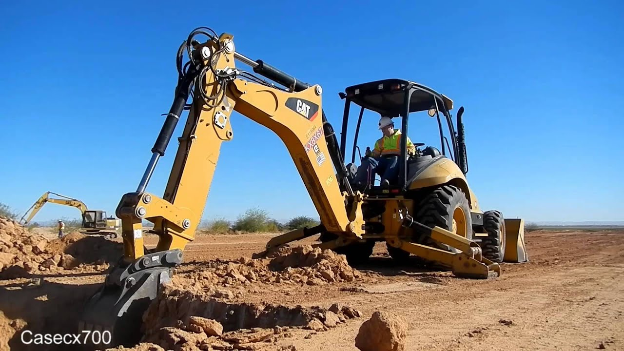 CAT 420F Loader Backhoe Digging - YouTube