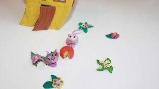 слепить мышку, урок 2 как слепить мышку, обучающие уроки лепки для детей и родителей