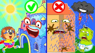 Lion Family   Talking Broken House vs Rainbow Color Playhouse   Cartoon for Kids