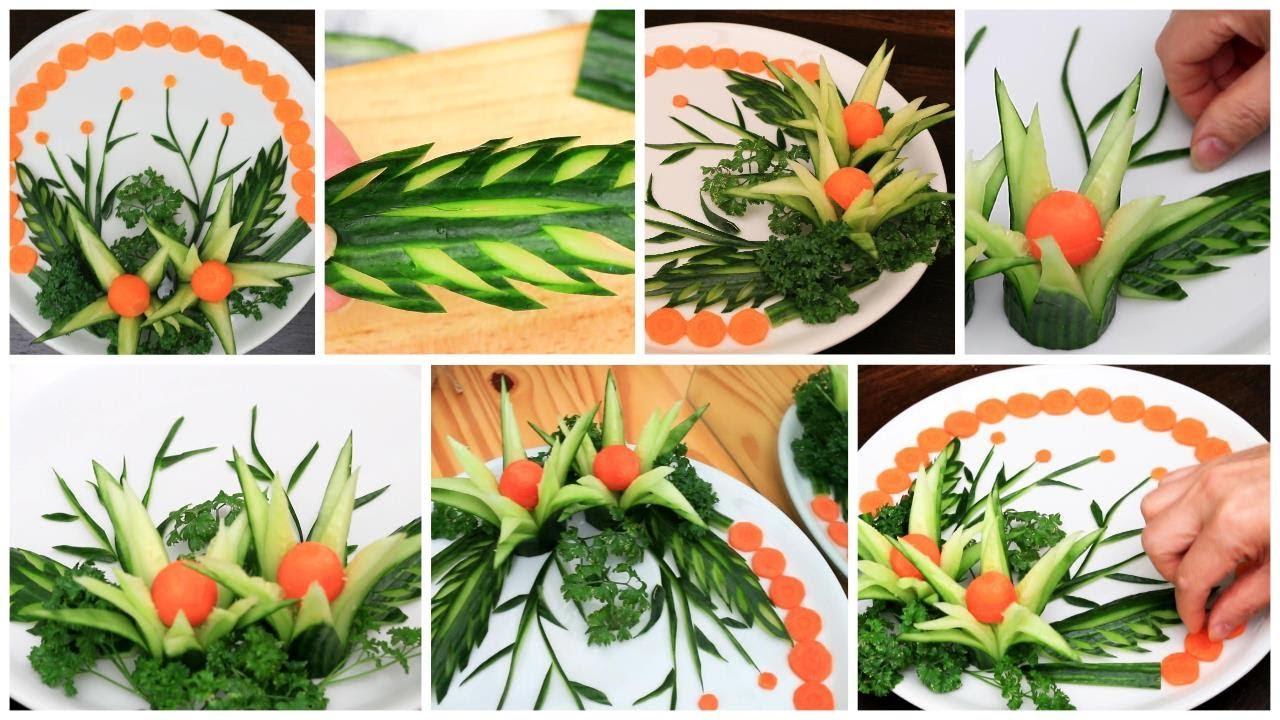 Super Salad Decorations Ideas | Creative Cucumber Flower Plate Decoration