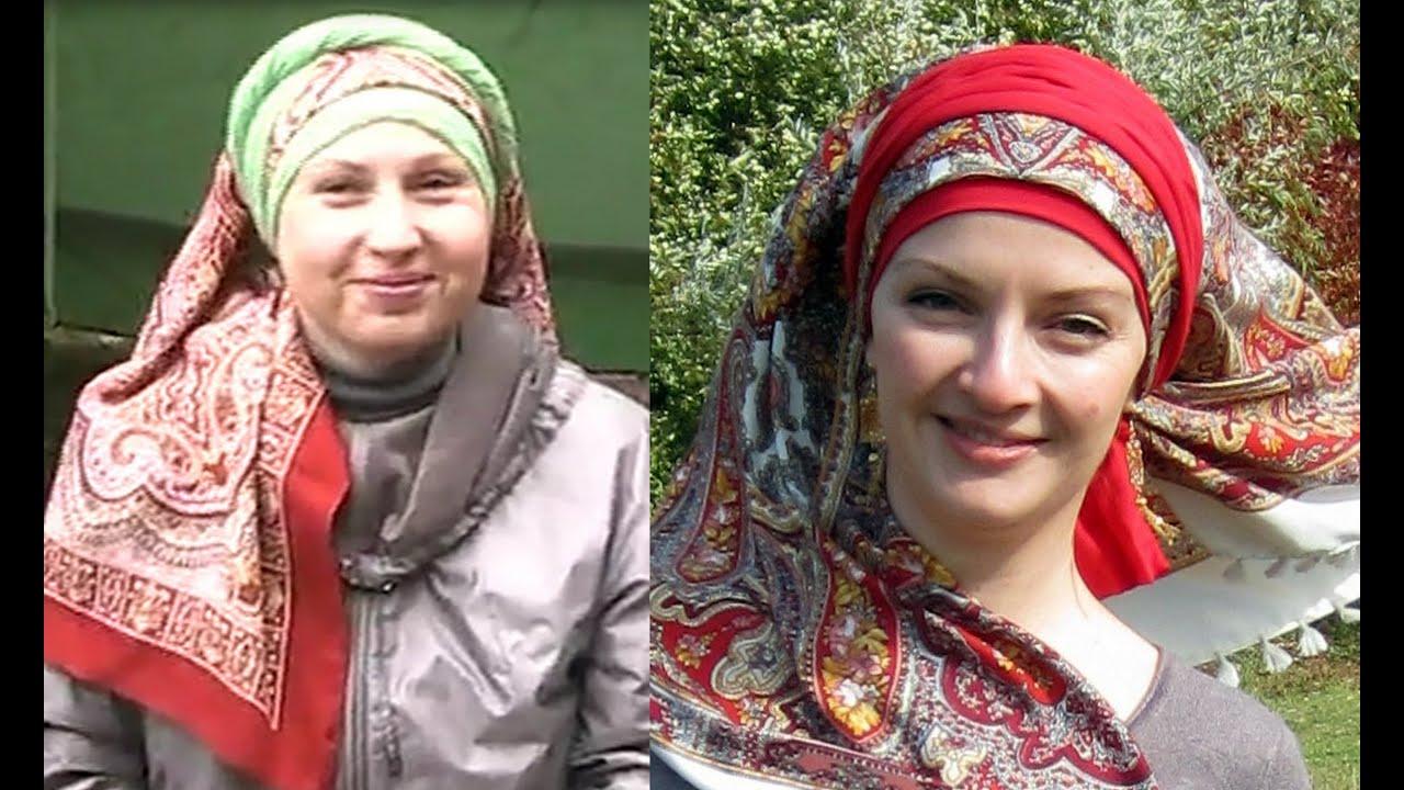 Как можно  красиво завязать платок на голову.Народный стиль - вариант с шарфиком. Запись с живого МК