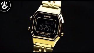 Review Đồng Hồ Casio LA680WGA-1BDF mặt số điện tử nền đen nổi bật trước thiết kế mạ vàng