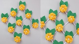 Cute Diy Yellow Paper Flowers For Home Wall Hanging Decoration