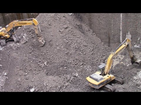 Construction Site with Diggers and Dump trucks in Real Action for Children - Excavators and Trucks