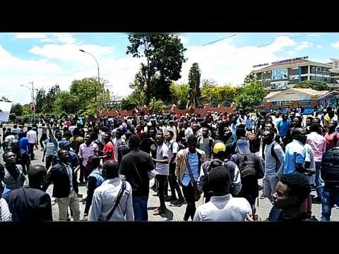 Kenyatta University students Demonstrating