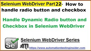 selenium WebDriver  Part22  Handle Dynamic Radio button and Checkbox in Selenium WebDriver
