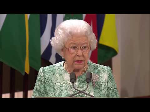 Her Majesty The Queen delivers her speech at the formal opening of CHOGM 2018