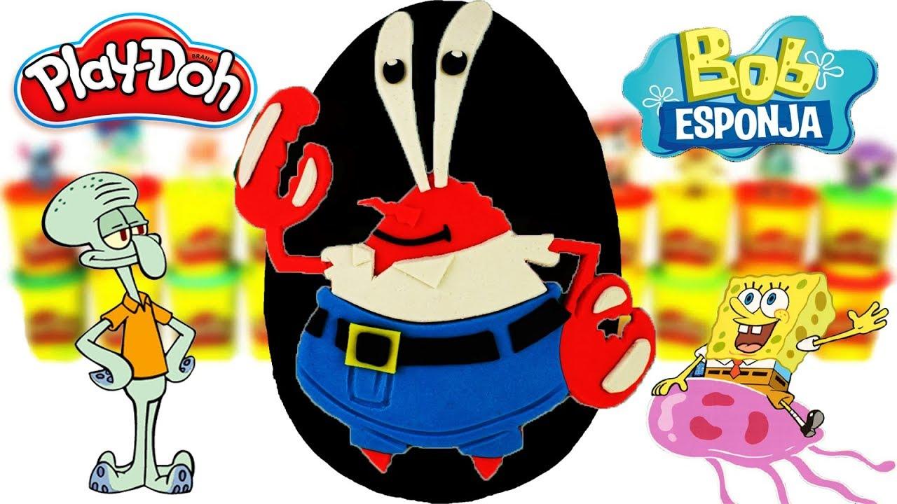 Huevo Sorpresa Gigante del Señor Cangrejo Bob Esponja de Plastilina Play Doh en Español