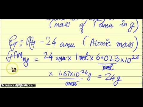 The Mole Concept: Relation between amu, Gram Atomic Mass, number of Gram Atoms - ClearConcepts