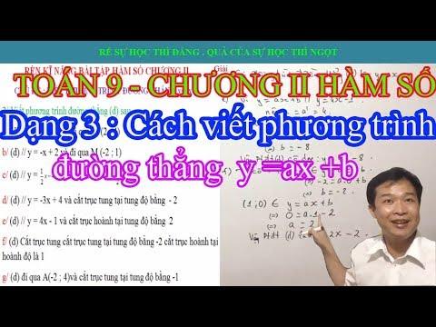 TOÁN 9 –  Hàm số : Cách viết phương trình đường thẳng  y=ax+b