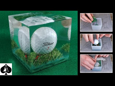 How to Make a Hole-in-One Golf Ball Trophy Paperweight Cube from Epoxy Resin | DIY | Tutorial