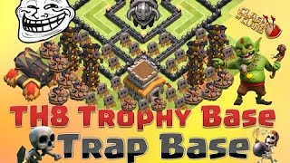 Clash Of Clans TH8 BEST Town Hall 8 Troll Base 'Masters League Trolling' + Defense Replays 2015