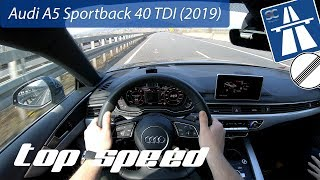 Audi A5 Sportback 40 TDI (2019) on German Autobahn - POV Top Speed Drive
