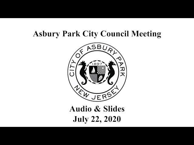 Asbury Park City Council Meeting - July 22, 2020