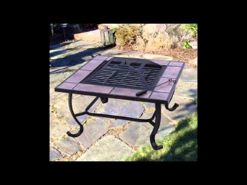 """32"""" Square Outdoor Backyard Patio Firepit Table; Square Metal Fire Pit"""