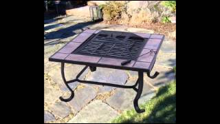 "32"" Square Outdoor Backyard Patio Firepit Table; Square Metal Fire Pit"