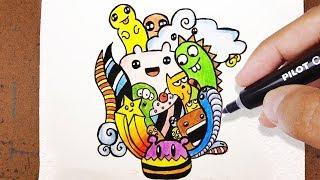 Como desenhar e Pintar Doodle Art How to Draw