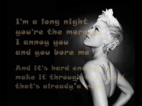P!nk - Is This Thing On ? ( Lyrics On Screen ) 2012