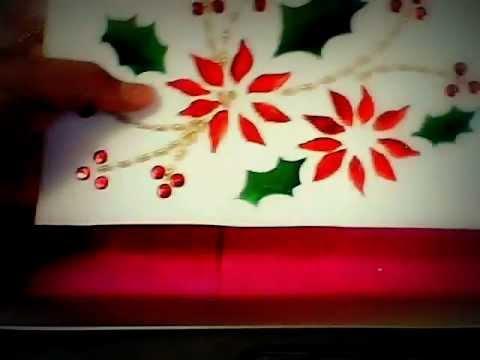 Manualidades navide as tarjetas bordadas youtube for Manualidades navidenas con cartulina