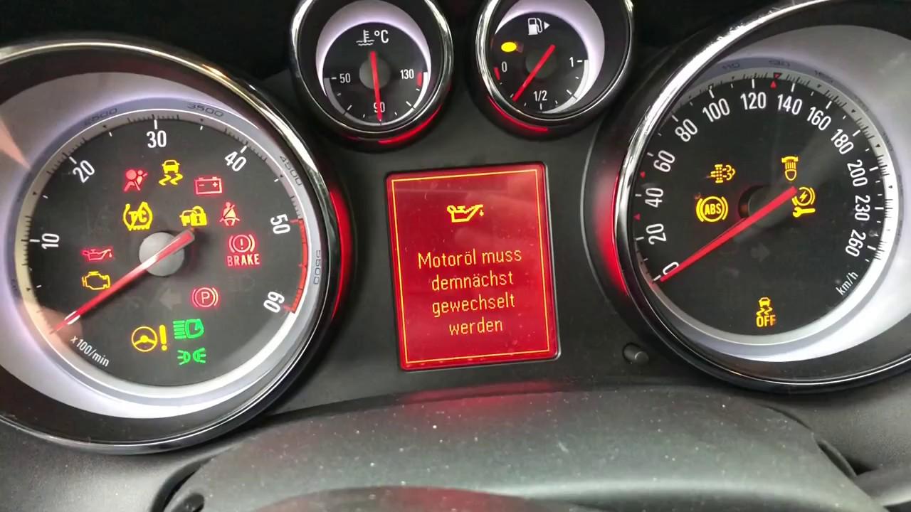 opel astra j sport Öl service zurücksetzen pkw wartung kfz intervall