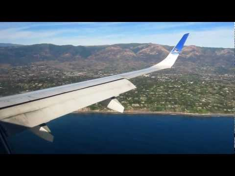 Frontier Airlines Republic EMB-190 Santa Barbara Approach and Landing HD