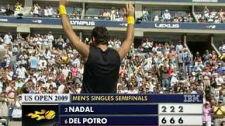 Juan Martín Del Potro - Rafael Nadal final point US open, 13/09/2009 Semifinals 6-2 6-2 6-2 HQ