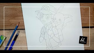 How to Draw Ash & Pikachu Step by Step in Hindi (Part 1) | Drawing Tutorial for Beginners