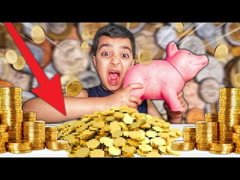 Little Brother Breaks Open Piggy Bank Filled With Money! (5 YEARS WORTH OF SAVED COINS!)