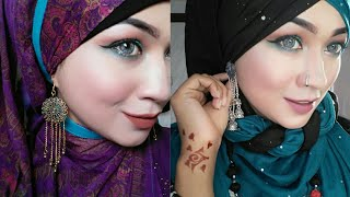 Hijab Style with Earrings and Necklace used Orna/Dupatta | Pari ZaaD