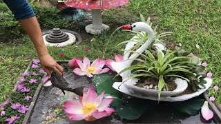 Wow ... Very beautiful - Small world for your garden. swan among small fish - cement craft ideas