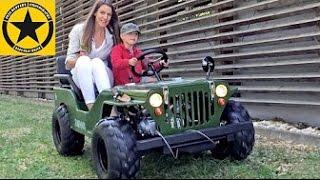 Children Jeep KIDs WILLYS JEEP! Little Boy(3) drives Mummy around!