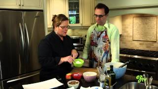 How To Make An Easy Kale Salad With Apples, Onions, Feta Cheese And Candied Pecans