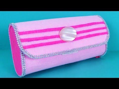 DIY Paper Purse - Learn How to Make Felt Paper Clutch Bag - Handmade NoSew Purse