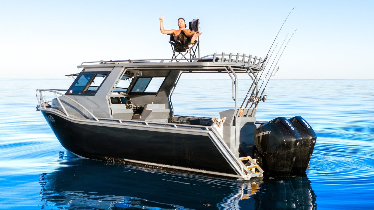 Download SOLO Two Days BOAT CAMPING in Remote Ocean - Spearfishing for Food - Catch and Cook