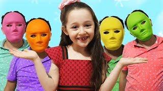 Öykü's Magic Balloons and Funny Dad cute masks