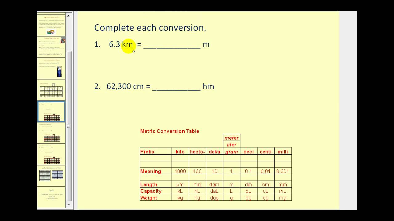 Metric Math Problems (solutions, examples, videos)